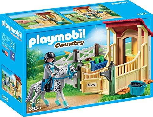 PLAYMOBIL Country 6935 Pferdebox 'Appaloosa' mit geschecktem Pferd und blauen Details, Ab 5 Jahren