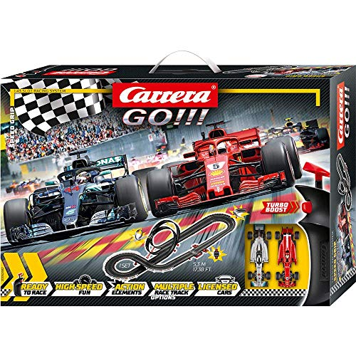 Carrera GO!!! Speed Grip Rennstrecken-Set | 5,3m Rennbahn mit Vettels Ferrari SF71H & Hamiltons...