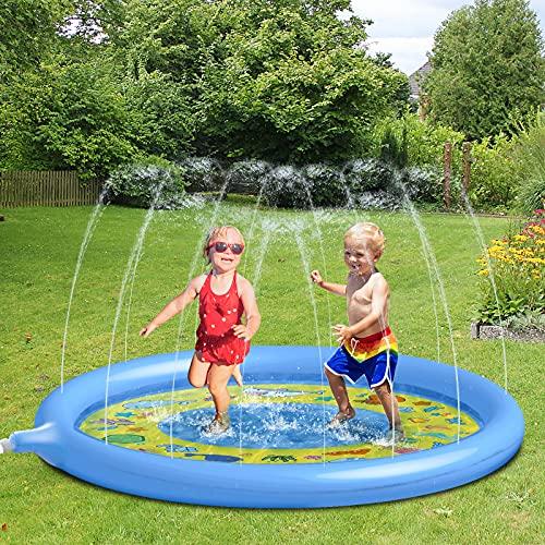 Glymnis Splash Pad, 170cm Sprinkler Wasser-Spielmatte, Blasen Splash Play Matte,Sprinkler Matte, Sommer...