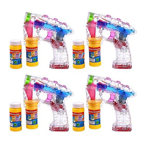 Schramm® 4er Pack Led Seifenblasenpistolen incl. 2x50ml Seifenblasen Flüssigkeit Ohne Batterien Pistole...