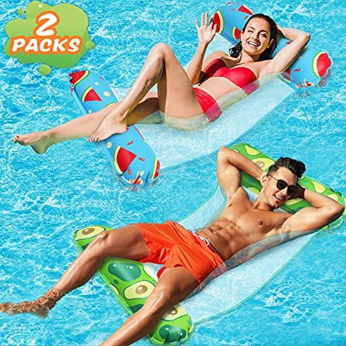 lenbest Wasserhängematte, 2 Pack EIN-klick-Aufblasen Ultrabequeme Luftmatratze Schwimmbad Pool Matte...