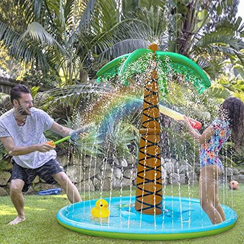 iNeego 180cm Splash Pad, Wasserspielzeug Spielmatte Outdoor Garten Splash Spielmatte für Kinder Sommer...
