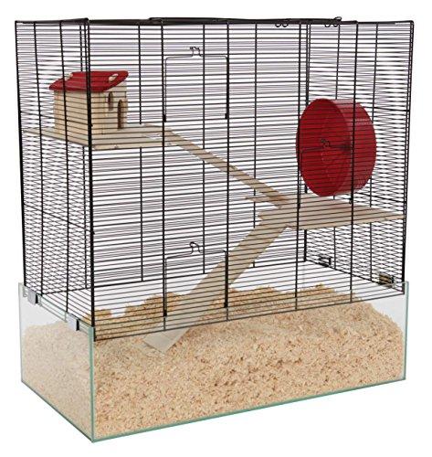 PETGARD Mäuse- und Hamsterkäfig, großes Nagarium mit Glaswanne und 2 Holzetagen, Komplettset mit...