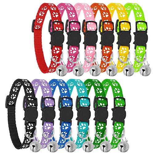 Reflektierende Katzenhalsbänder mit Glöckchen, sicheres Schnellentriegelungs-Katzenhalsband,...