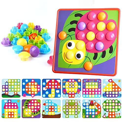 Mitening Mosaik Steckspiel für Kinder ab 2 Jahre, Steckmosaik mit 45 Steckperlen und 12 Buntes...