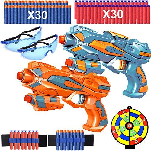 Kinder Spielzeug Pistole, 2er Set Blaster Pistolen mit 40 Schaumstoffpfeilen, 2 Schutzgbrillen, 2 Kugel...