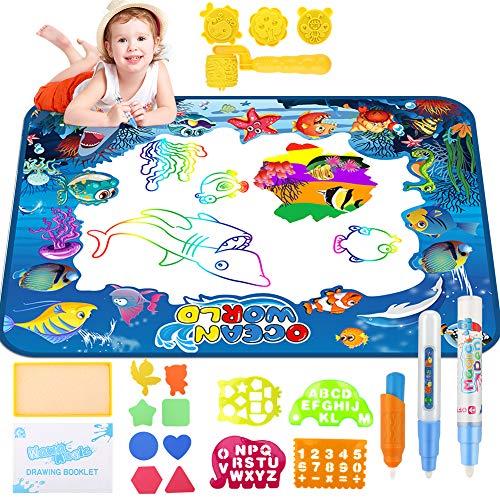 welltop Aqua Magic Doodle, Wasser Doodle Matte 100*70cm Kinder, Große Magic Malmatte mit 3 Magic Stifte,...