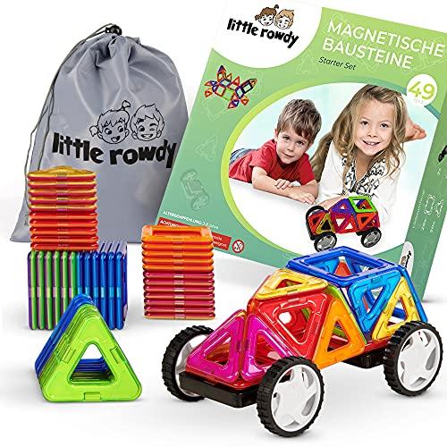 little rowdy® magnetische Bausteine Starter-Set 49 Teile - Magnetspielzeug ab 3 Jahre für Jungen und...