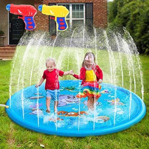 AILUKI Splash Pad Wasserspielzeug Spielmatte Outdoor Garten Splash Spielmatte für Baby Party Sprinkler...