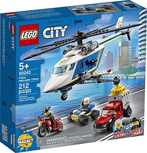 LEGO 60243 City Verfolgungsjagd mit dem Polizeihubschrauber, Quad, Motorrad und Pickup, Bausets für...