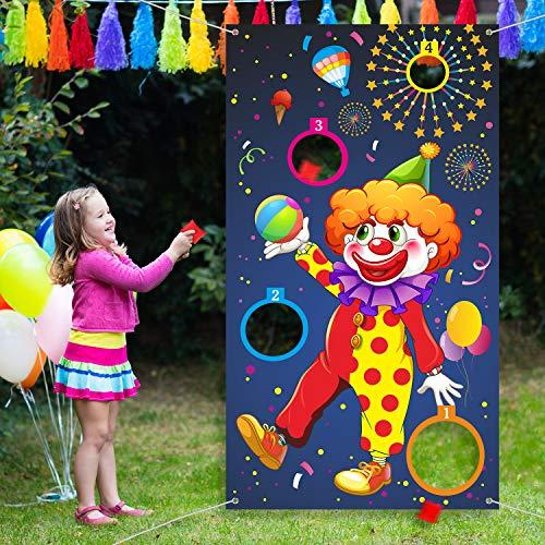 Outus Karneval Wurf Spiel Clown Banner mit 3 Bohnen Säcke Zirkus Bohnen Säcke Wurf Spiel für Karneval...
