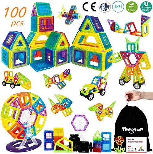 theefun Magnetische Bausteine, 100 Teile Magnetspielzeug Magnete Kinder Magnetspielzeug ab 3 Jahre...