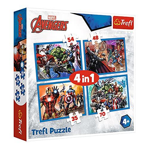 Trefl TR34310 Unerschrockene, Marvel Avengers 35 bis 70 Teilen, 4 Sets, für Kinder ab 4 Jahren...