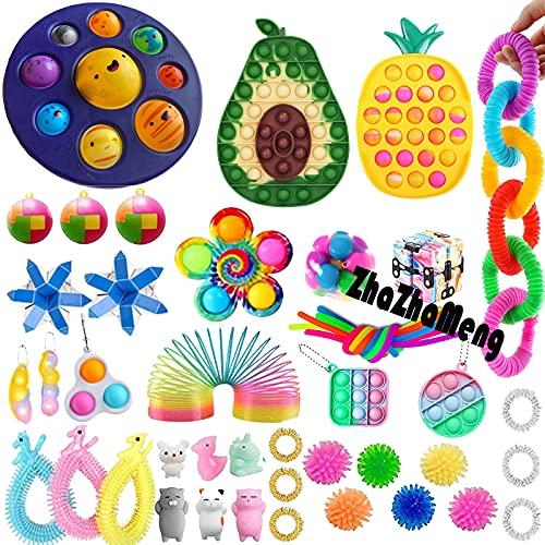 50 Pcs Sensory Pop Fidget Toys Set Pop Bubble Toy Sensory Toys Stress Relief and Anti-Anxiety Toys Pack...