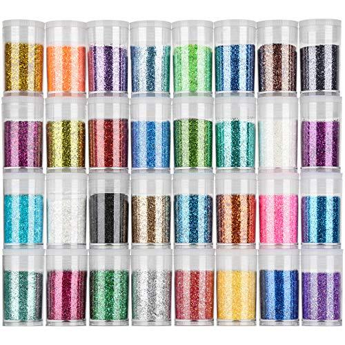 FANDAMEI 32 Farben Glitzerpulver Set, Glitzer Pulver Glitter Bunte Glitzerpuder zum Basteln für...