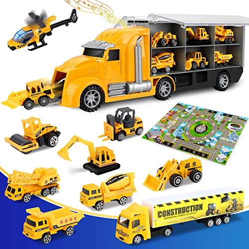 lenbest 2 in 1 Baustelle Baufahrzeug Autos, Bagger Spielzeug mit Musik, Baustellen Fahrzeuge LKW mit...