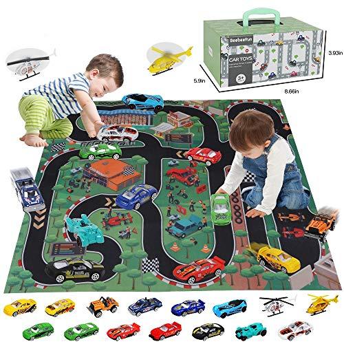 BeebeeRun 17 Stück Spielzeugautos mit Spielmatte,Spielzeug ab 3 Jahren für Jungen,Metall Rennwagen...
