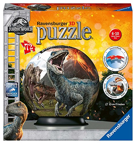 Ravensburger 3D Puzzle 11757 - Puzzle-Ball Jurassic World - 72 Teile - Puzzle-Ball für Dinosaurier-Fans...
