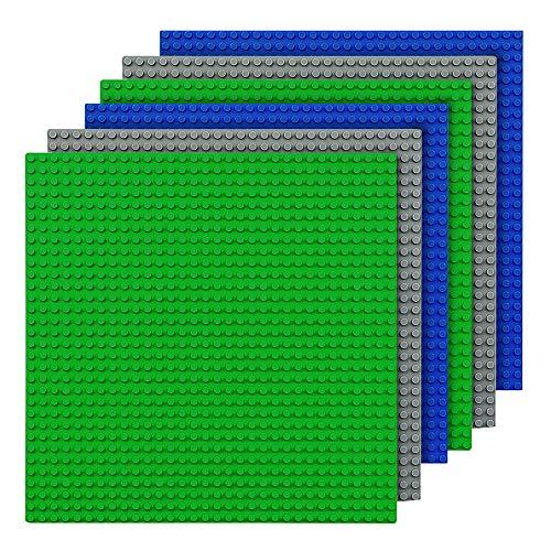 CMASTER Classic Bausteine Grundplatte - 10 x 10 (25,5 x 25,5cm) - 6 Stück - Blau, Grau&Grün - 100 %...