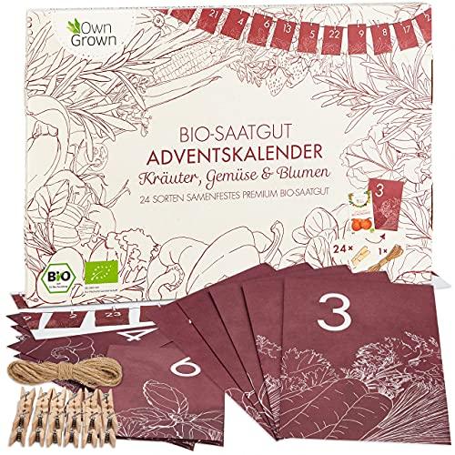 BIO Saatgut Adventskalender 2021: BIO Samen Adventskalender 2021 mit Gemüse Samen, Kräuter Samen und...