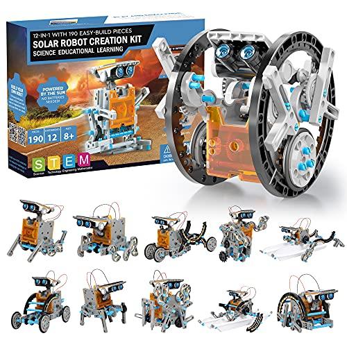 Solar Roboter Bausatz Kinder STEM Experimente 190 Stücke Lernspielzeug Geschenke, 12-IN-1 Solarenergie...