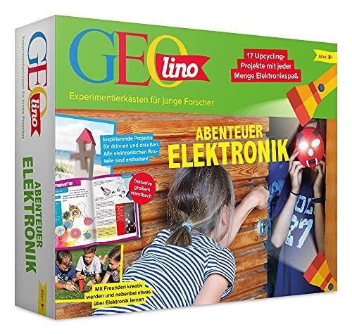 FRANZIS 67073 - GEOlino Experimentierkasten Abenteuer Elektronik, Set mit Solarmodul, LEDs, Solarmotor,...