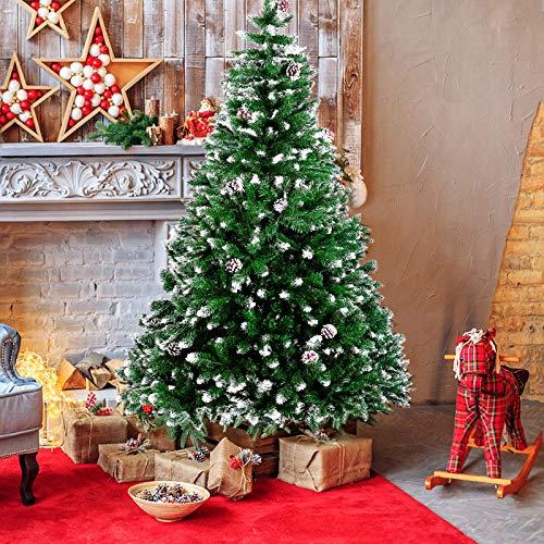 amzdeal Künstlicher Weihnachtsbaum - 180cm Tannenbaum mit Schnee 800 Spitzen und Tannenzapfen, Schnelle...