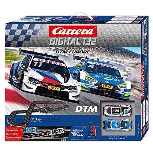 Carrera DIGITAL 132 DTM Furore Autorennbahn Set │ 2 ferngesteuerte Slotcars für drinnen │...