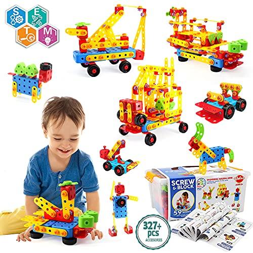 VATOS Konstruktionsspielzeug STEM Spielzeug Bauen 327 Stück Kreatives Baukasten Lernspielzeug...