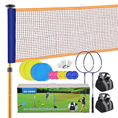 GS CHIER 2 in 1 Badminton und Flying Ring - Federball Komplettset Mit Federballschläger, Federbälle,...