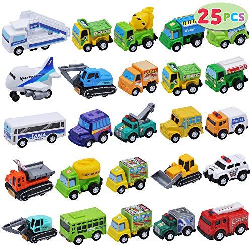 JOYIN 25 Stück Zurückziehen Stadtautos und Lastwagen Spielzeugfahrzeug-Set für Kleinkinder, Mädchen...