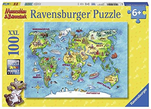 Ravensburger Kinderpuzzle 10595 - Mäuseschlau & Bärenstark Reise um die Welt 100 Teile XXL - Puzzle...