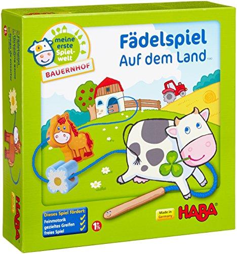 Haba 5580 - Meine erste Spielwelt Bauernhof Fädelspiel auf dem Land, liebevoll gestaltetes Lernspiel und...