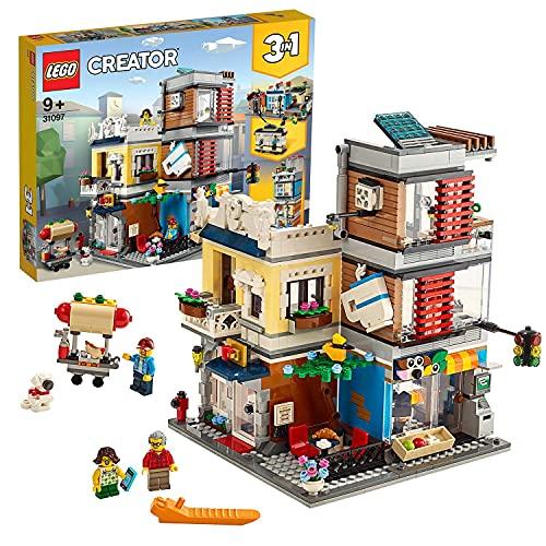LEGO 31097 Creator 3-in-1 Set Stadthaus mit Zoohandlung & Café, Bauset mit 3 Minifiguren und...