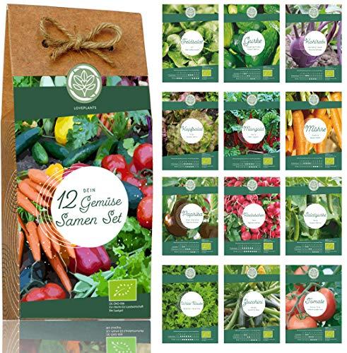 Gemüse Samen Set – 12 Sorten Bio Gemüse Saatgut. Perfektes Gemüseset für Garten und Balkon. Ideal...