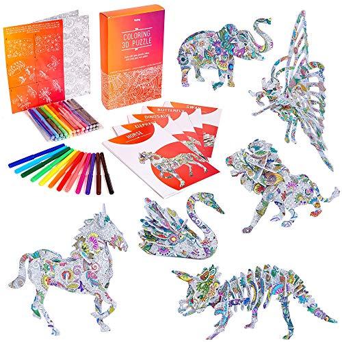 3D Puzzle zum Ausmalen für Kinder – 3D Puzzle Geschenkset mit 6 Tieren – Kunst und Handwerk für...