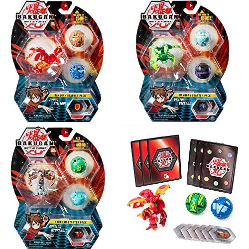 Bakugan Starter Pack mit 3 Bakugan (1 Ultra & 2 Basic Balls), unterschiedliche Varianten