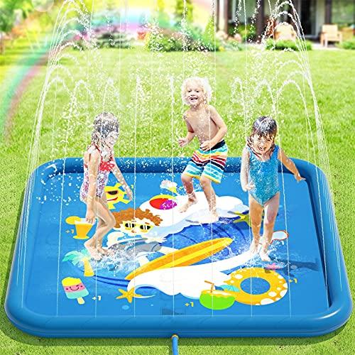 Peradix Splash Pad,170CM Sprinkler Wasser-Spielmatte Anti-Rutsch Splash Play Matte Sommer Outdoor Garten...