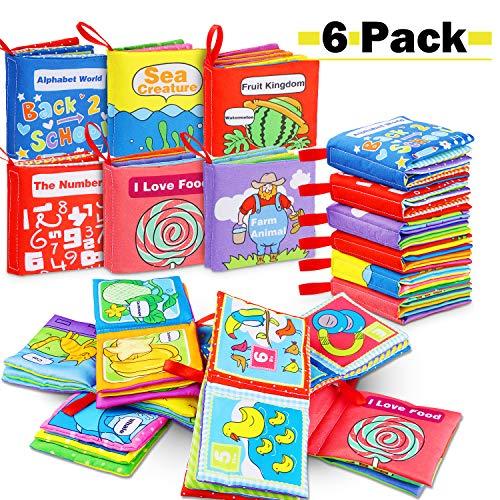RenFox 6 Stücke Stoffbuch für Babys, Soft-Bilderbuch Baby Spielzeug Pädagogisches Kleinkindspielzeug...