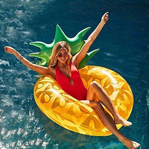 Ginkago Aufblasbar Ananas Luftmatratze Riesiger Schwimmring Pool - Ananas Schwimmreifen Wasser Strand...