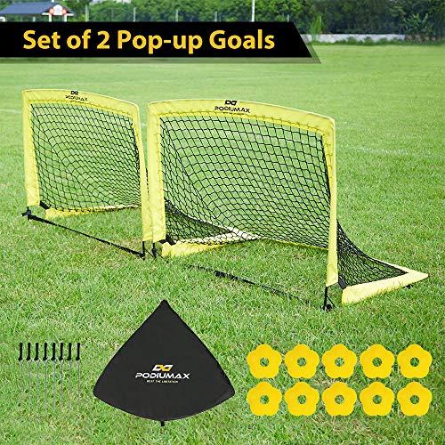 PodiuMax 2er Set Faltbar Pop Up Fußballtor mit 10 x Hütchen, 8 x Bodenanker, Schnell...