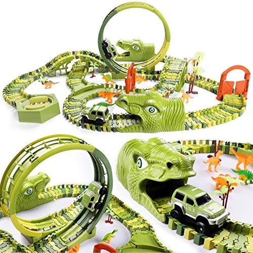 burgkidz Dinosaurier Rennstrecken Spielen Fahrzeuge Spielzeug Set, 387 Stück Flexible Dinos Bahngleise...