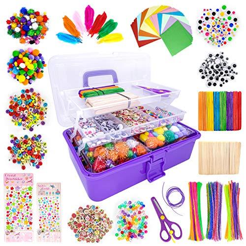 LINAYE 1600+Pcs DIY Bastelbedarf für Kinder Bastelset in Faltbare Aufbewahrungsbox Gehören Bastelpapier...