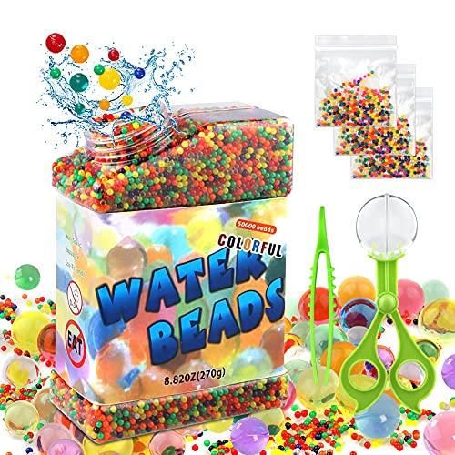CRRMW Wasserperlen, 50000 Stücke Wasser Gel Perlen, Gelperlen Ungiftig Biologisch Abbaubare Enthält 3 x...