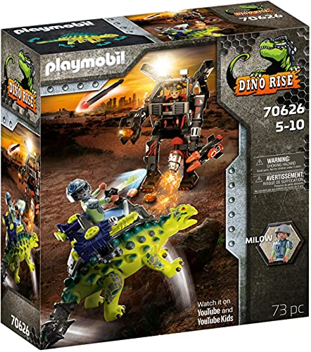 PLAYMOBIL Dino Rise 70626 : Abwehr des Kampfläufers: Dinosaurier Saichania mit Kanonen und Teammitglied...