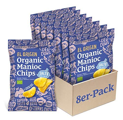 el origen Bio Maniok Chips mit Meersalz 8er Pack, 8 x 60 g