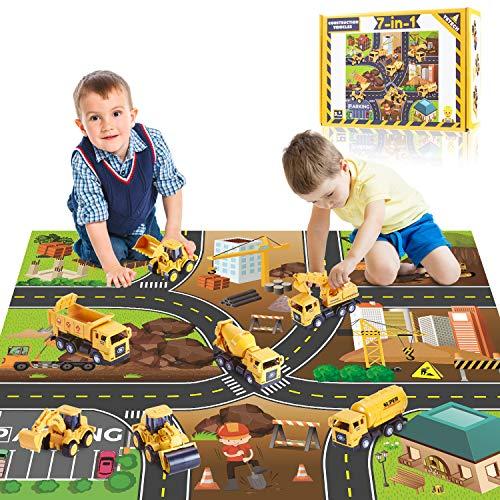 Yetech Klein baufahrzeuge Spielzeug,7 in 1 Spielzeugauto Bagger LKW ,Pull Back Autos Spielzeug Autos,mit...