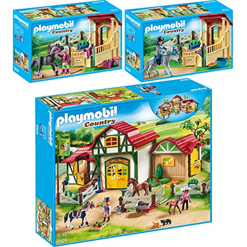 PLAYMOBIL® Country 3er Set 6926 6934 6935 Großer Reiterhof + Pferdebox 'Araber' + Pferdebox 'Appaloosa'