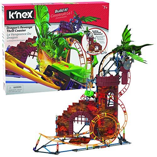 K'Nex 34043 Rides Dragon's Revenge Thrill Roller Coaster Building Set Dragon Bausatz, Mehrfarbig