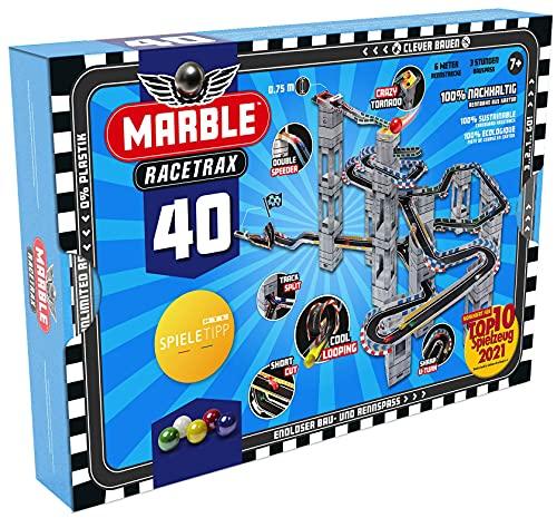 Marble Racetrax 869027 - Murmel Mania Rennbahn Starter Set 40 teilig, Kugelbahn mit 6 Meter Laufstrecke &...